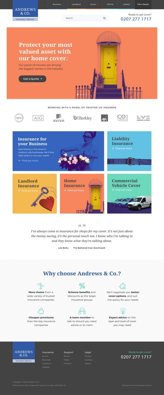Andrews insurance company website design