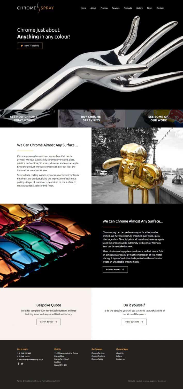 Website design for spray company basildon