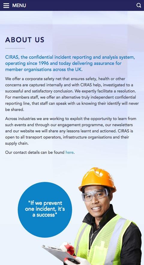 Ciras online hub responsive view