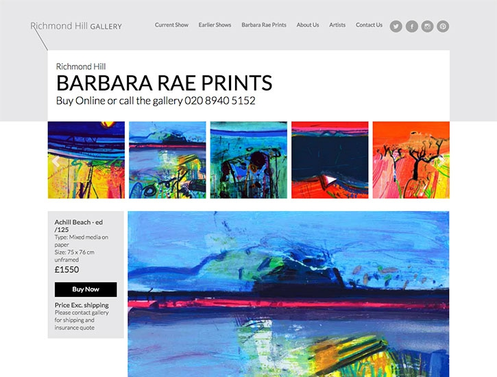 Responsive website design for london gallery