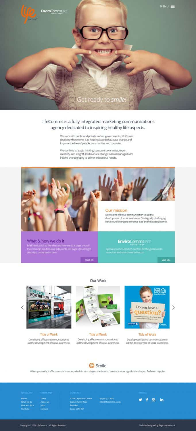 Lifecomms homepage website design