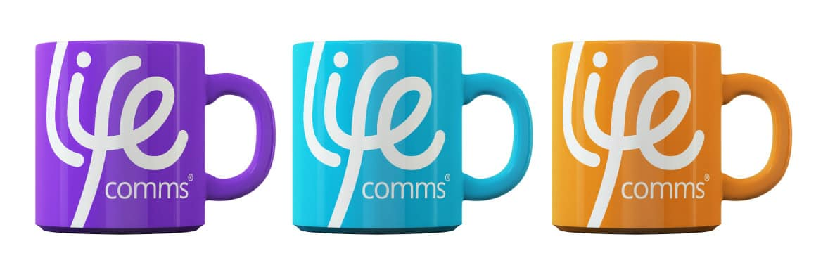 Lifecomms branding on mugs