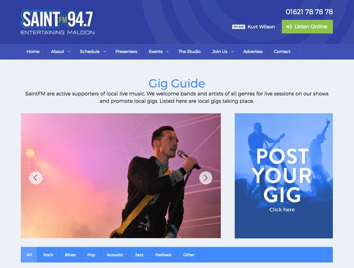 Gig guide for maldon design website