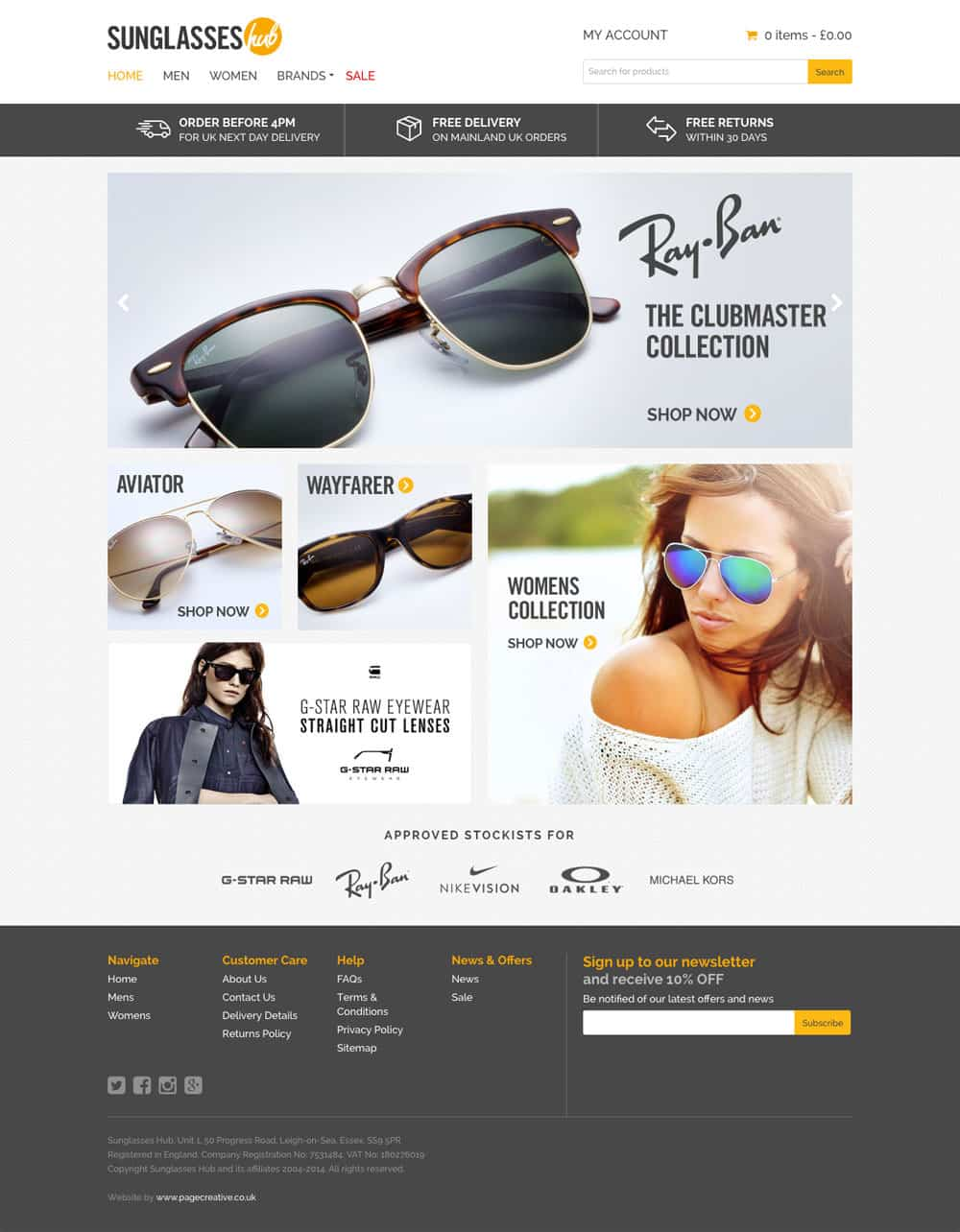 Sunglasses shop website design leigh on sea