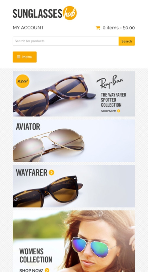Sunglasses hub sunglasses shop leigh on sea responsive website design