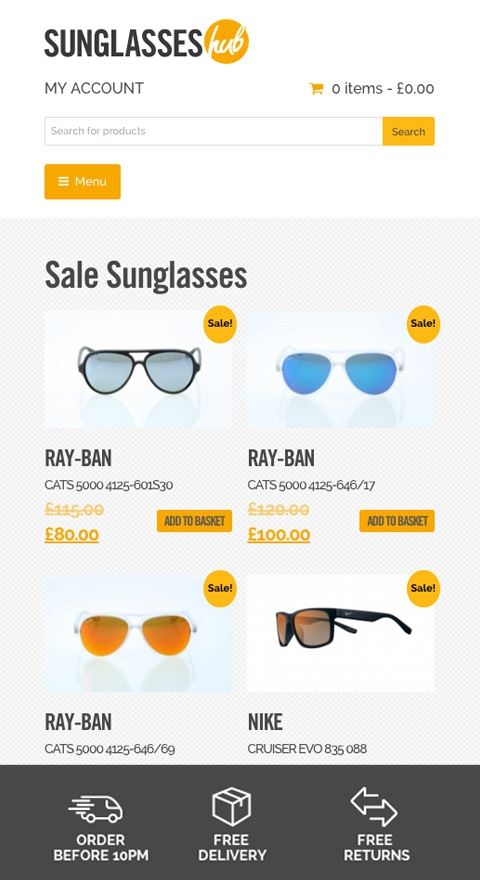 Sunglasses hub ecommerce shop responsive design