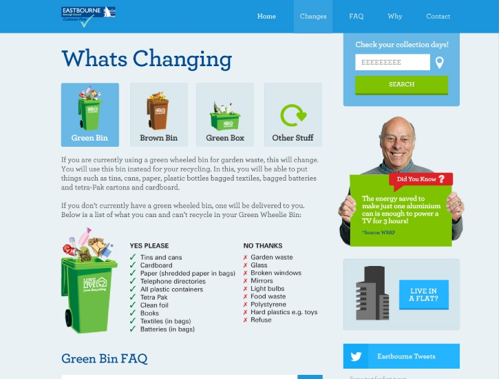 Website showing council service change information