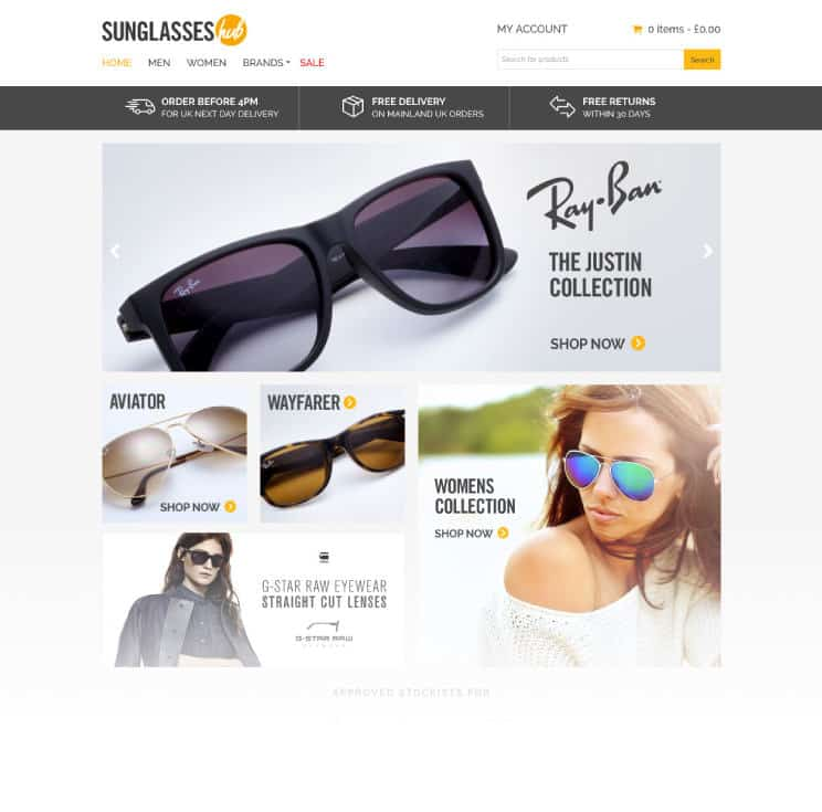 Sunglasses hub website design