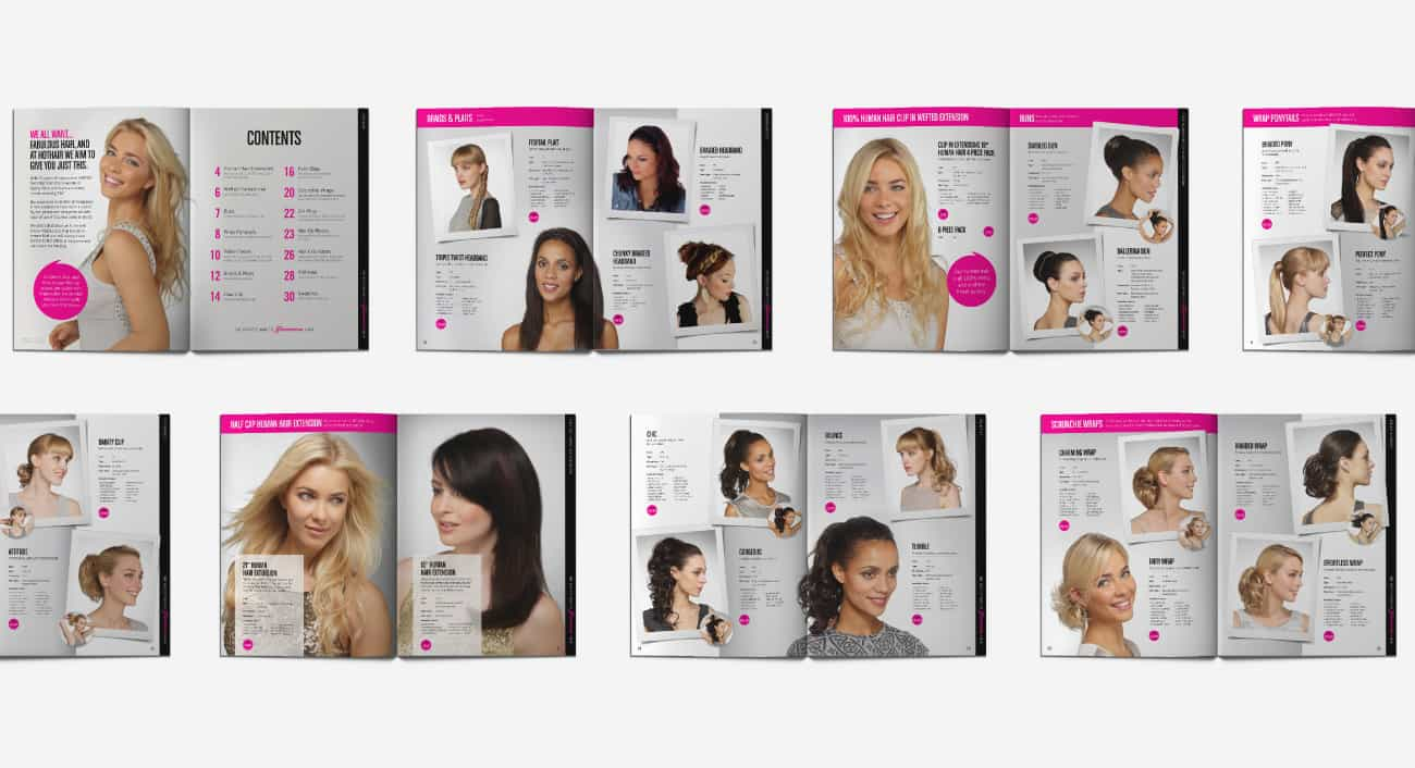 hair piece brochure design hothair