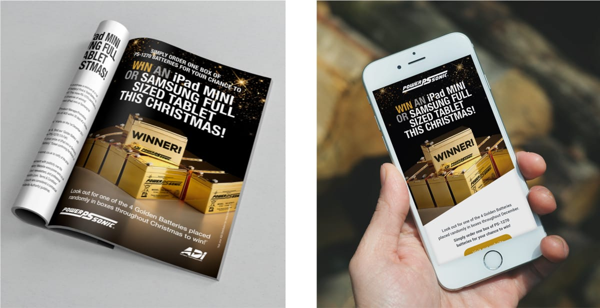 PowerSonic Golden Battery Promotional designs